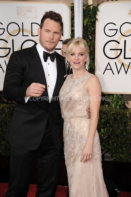 WWW.ACEPIXS.COM<br /> <br /> January 11 2015, LA<br /> <br /> Anna Faris and Chris Pratt arriving at the 72nd Annual Golden Globe Awards at The Beverly Hilton Hotel on January 11, 2015 in Beverly Hills, California.<br /> <br /> <br /> By Line: Peter West/ACE Pictures<br /> <br /> <br /> ACE Pictures, Inc.<br /> tel: 646 769 0430<br /> Email: info@acepixs.com<br /> www.acepixs.com