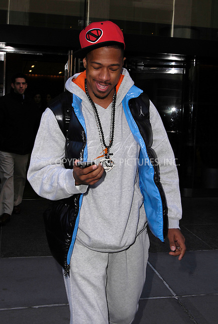 WWW.ACEPIXS.COM ************....January 18 2012, New York City....Looking fit and healthy following a kidney problem, Nick Cannon left a midtown hotel on January 18 2012 in New York City....Please byline: CURTIS MEANS - ACE PICTURES.. *** ***  ..Ace Pictures, Inc:  ..tel: (646) 769 0430..e-mail: info@acepixs.com..web: http://www.acepixs.com