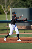 AZL White Sox third baseman Bryan Ramos (10) throws to second base during an Arizona League game against the AZL Royals at Camelback Ranch on June 19, 2019 in Glendale, Arizona. AZL White Sox defeated AZL Royals 4-2. (Zachary Lucy/Four Seam Images)