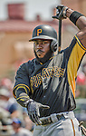 22 March 2015: Pittsburgh Pirates infielder Josh Harrison stands ready to lead off a Spring Training game against the Houston Astros at Osceola County Stadium in Kissimmee, Florida. The Astros defeated the Pirates 14-2 in Grapefruit League play. Mandatory Credit: Ed Wolfstein Photo *** RAW (NEF) Image File Available ***