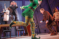 NEW YORK - OCT 28: The cast of the Broadway musical Elf performs a tech rehearsal at the Al Hirschfield Theater on Thursday, October 28, 2010, in New York City. (Photo by Landon Nordeman)