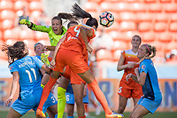 Houston, TX - Saturday May 13, Houston Dash defender Bruna Benites (4) during a regular season National Women's Soccer League (NWSL) match between the Houston Dash and Sky Blue FC at BBVA Compass Stadium. Sky Blue won the game 3-1.