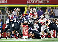 TCU Horned Frogs place kicker Cole Bunce (37) misses a field goal during the first quarter of the NCAA football game against the Ohio State Buckeyes at AT&T Stadium in Arlington, Texas on Sept. 15, 2018. [Adam Cairns / Dispatch]