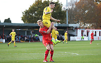 Alfreton Town's Josh Clackstone and Fleetwood Town's Ashley Hunter<br /> <br /> Photographer Rachel Holborn/CameraSport<br /> <br /> Emirates FA Cup First Round - Alfreton Town v Fleetwood Town - Sunday 11th November 2018 - North Street - Alfreton<br />  <br /> World Copyright &copy; 2018 CameraSport. All rights reserved. 43 Linden Ave. Countesthorpe. Leicester. England. LE8 5PG - Tel: +44 (0) 116 277 4147 - admin@camerasport.com - www.camerasport.com