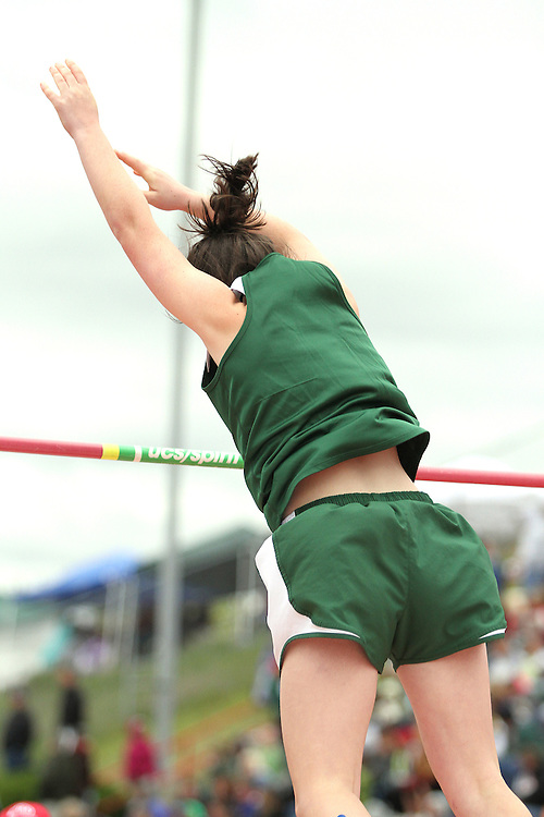 Photograph from the WIAA State Championships at Eastern Washington University in Cheney, Washington, during the 2010 Mt. Rainier Lutheran High School track and field season (pole vault photo sequence, 11 of 14).