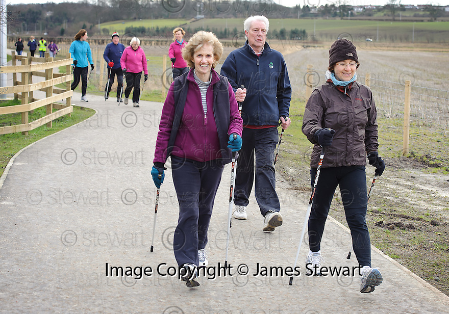 The Helix Nordic Walkers out on the paths towards Beancross..