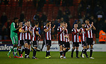 Sheffield Utd team applaud the fans during the Championship match at the Bramall Lane Stadium, Sheffield. Picture date 27th September 2017. Picture credit should read: Simon Bellis/Sportimage