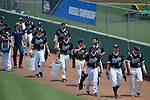 4 JUNE 2016: Nova Southeastern University arrive to the field during the Division II Men's Baseball Championship between Millersville University and Nova Southeastern University at the USA Baseball National Training Complex in Cary, NC.  Nova Southeastern University defeated Millersville University 8-6 to win the national title. Grant Halverson/NCAA Photos