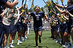 CHAPEL HILL, NC - MAY 20: Navy's Marie Valenti (8) during player introductions. The University of North Carolina Tar Heels hosted the U.S. Naval Academy Midshipmen on May 20, 2017, at Fetzer Field in Chapel Hill, NC in an NCAA Women's Lacrosse Tournament Quarterfinal match. Navy won the game 16-14.