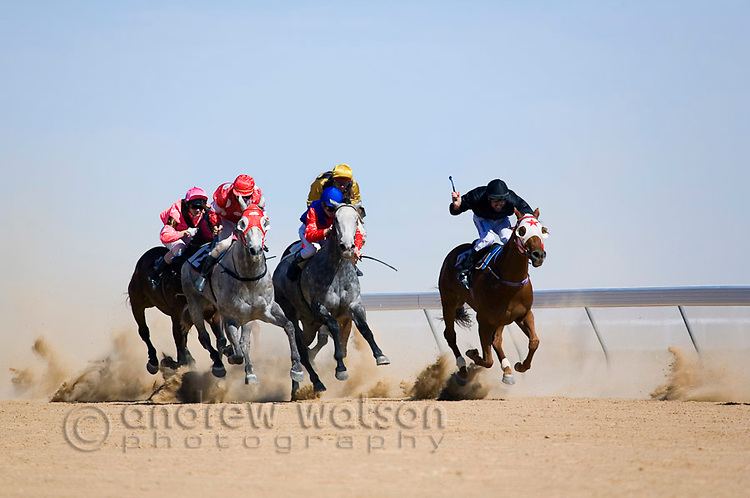 Horse racing in the outback, at the annual Birdsville Cup races.  Every September the remote town hosts the biggest horse racing festival in outback Australia.  Birdsville, Queensland, AUSTRALIA.  © Andrew Watson / Axiom