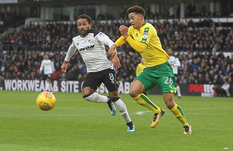 Derby County's Ikechi Anya in action with Norwich City's Jamal Lewis<br /> <br /> Photographer Mick Walker/CameraSport<br /> <br /> The EFL Sky Bet Championship - Derby County v Norwich City - Saturday 10th February 2018 - Pride Park - Derby<br /> <br /> World Copyright &copy; 2018 CameraSport. All rights reserved. 43 Linden Ave. Countesthorpe. Leicester. England. LE8 5PG - Tel: +44 (0) 116 277 4147 - admin@camerasport.com - www.camerasport.com
