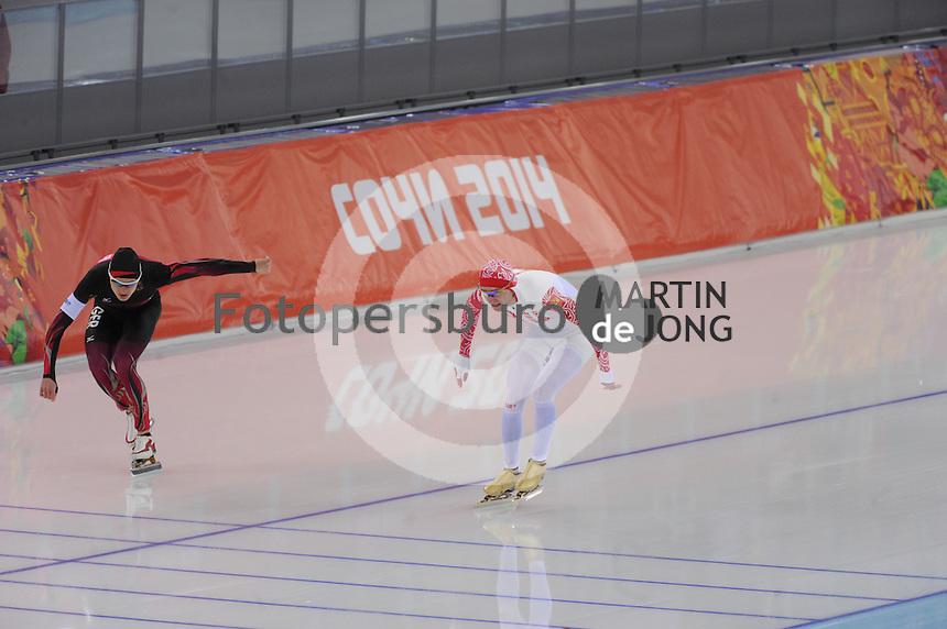 OLYMPICS: SOCHI: Adler Arena, 15-02-2014, Men's 1500m, Patrick Beckert (GER), Aleksey Yesin (RUS), ©photo Martin de Jong