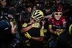 Egan Bernal (COL) Team Ineos wins the overall general classification Yellow Jersey hugs his girlfriend at the end of Stage 21 of the 2019 Tour de France running 128km from Rambouillet to Paris Champs-Elysees, France. 28th July 2019.<br /> Picture: ASO/Pauline Ballet | Cyclefile<br /> All photos usage must carry mandatory copyright credit (© Cyclefile | ASO/Pauline Ballet)