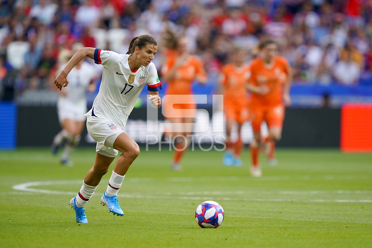 LYON, FRANCE - JULY 07: Tobin Heath #17 during the 2019 FIFA Women's World Cup France final match between the Netherlands and the United States at Stade de Lyon on July 07, 2019 in Lyon, France.