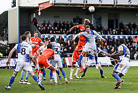Blackpool's Armand Gnanduillet competing with Bristol Rovers' Joe Partington <br /> <br /> Photographer Andrew Kearns/CameraSport<br /> <br /> The EFL Sky Bet League Two - Bristol Rovers v Blackpool - Saturday 2nd March 2019 - Memorial Stadium - Bristol<br /> <br /> World Copyright © 2019 CameraSport. All rights reserved. 43 Linden Ave. Countesthorpe. Leicester. England. LE8 5PG - Tel: +44 (0) 116 277 4147 - admin@camerasport.com - www.camerasport.com