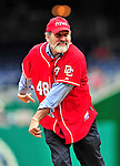 26 September 2010: Rabbi Lyle Fishman throws out the ceremonial first pitch in celebration of the Jewish holiday of Sukkot prior to a game against the Atlanta Braves at Nationals Park in Washington, DC. The Nationals defeated the pennant-seeking Braves 4-2 to take the rubber match of their 3-game series. Mandatory Credit: Ed Wolfstein Photo