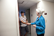 Matthew Rydell of San Antonio, Texas greets Heloise at his dorm room on the campus of Texas State University in San Marcos. Matthew lives in the dorm room that Heloise lived in forty years previous. Heloise offered Matthew a host of housekeeping tips. July 14, 2009.