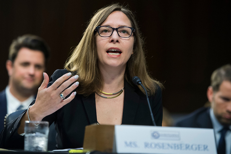 """UNITED STATES - AUGUST 01: Laura Rosenberger, director of the Alliance for Securing Democracy and a senior fellow at The German Marshall Fund of the United States, testifies during a Senate (Select) Intelligence Committee hearing in Hart Building titled """"Foreign Influence on Social Media Platforms: Perspectives from Third-Party Social Media Experts,"""" on August 1, 2018. (Photo By Tom Williams/CQ Roll Call)"""