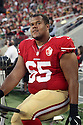 August 26 2016:  Offensive Lineman Joshua Garnett of the San Francisco 49ers before a 21-10 loss to the Green Bay Packers at Levi's Stadium in Santa Clara, Ca.