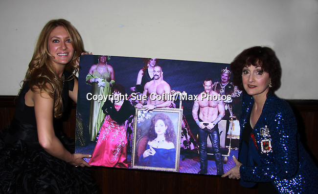 One Life To Live BethAnn Bonner poses with Robin Strasser and the photo of Robin at previous Imperial Court gala and Robin photo which hung at OLTL Studio at ICNY (Imperial Court of New York): Daytime Meets Nighttime Cabaret benefitting LifeBeat: Music Fights HIV and Jan Hus Neighborhood Church, two organizations giving back to the community at November 4, 2011 at the Jan Hus Playhouse Theatre, New York City, New York. (Photo by Sue Coflin/Max Photos)