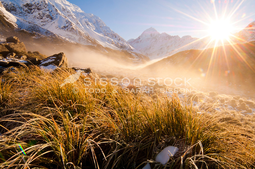 Sunrise on the Hooker Valley track to Hooker Lake, Mt Cook / Aoraki, South Canterbury, New Zealand.