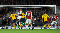 Alexandre Lacazette of Arsenal scores a goal to make it 12-0 during the UEFA Europa League Semi Final 1st leg match between Arsenal and Atletico Madrid at the Emirates Stadium, London, England on 26 April 2018. Photo by Andy Aleksiejczuk / PRiME Media Images