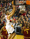 01/15/13--Portland Trail Blazers small forward Nicolas Batum (88) makes a basket agsjnst Cleveland Cavaliers in the first half at Moda Center.<br />
