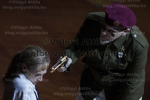 US actor John Malkovich (R) plays a dictator in his piece Just Call Me God in Budapest, Hungary on April 4, 2017. ATTILA VOLGYI