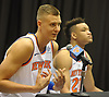 Kristaps Porzingis of the New York Knicks fields questions during the team's Media Day held at Madison Square Garden Training Center in Greenburgh, NY on Monday, Sept. 24, 2018.