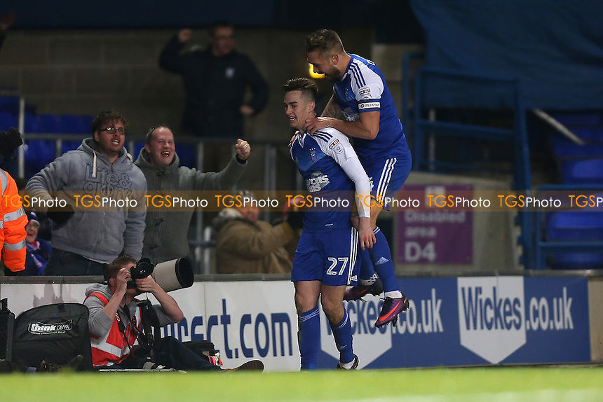 Tom Lawrence of Ipswich Town (27) scores the third goal for his team and celebrates during Ipswich Town vs Queens Park Rangers, Sky Bet EFL Championship Football at Portman Road on 26th November 2016