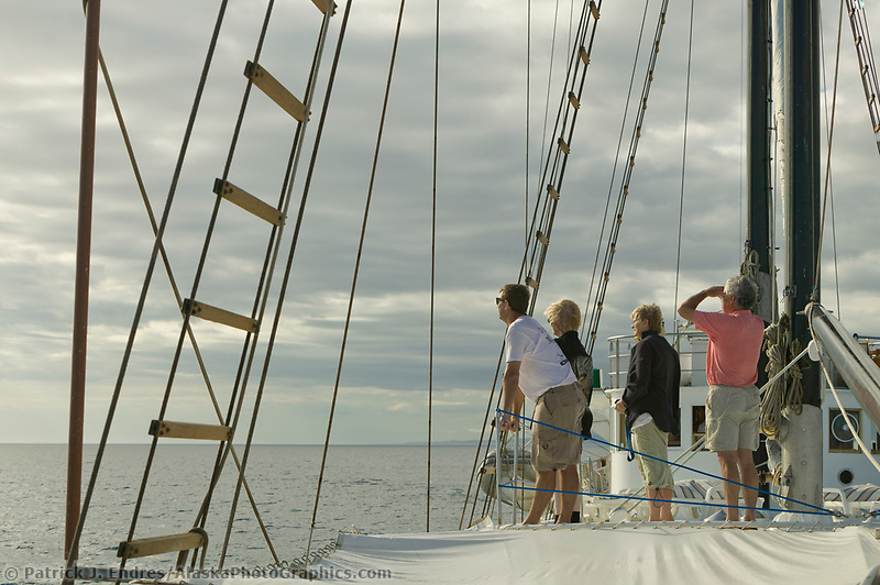 Tourist watch for whales on board the Alta, Galapagos Islands, Ecuador