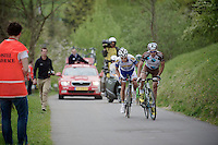 Christophe Riblon (FRA/AG2R-La Mondiale) & Preben Van Hecke (BEL/Topsport Vlaanderen-Baloise) up the 'steepest climb' in Holland: Keutenberg (22%)<br /> No fans are allowed on the climb.<br /> <br /> Amstel Gold Race 2014