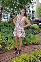 NWA Democrat-Gazette/MICHAEL WOODS &bull; @NWAMICHAELW<br /> Lexi DeLeon, 19, the Chica Jueves (Girl Thursday) for La Prensa Libre Thursday April 14, 2016  on the Fayetteville Square.