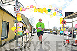 Moyvane Mother's Day Fun Run: Tom Shanahan, Boro Brigade  crossing the line and winning the the 5kg race at the Moyvane Mothers day Fun Run in Moyvane on Sunday last.