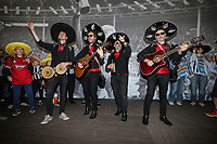 Mariachi band Beato Burrito hired by Grimsby Town fans after Barnet put a ban on inflatables in the ground perform ahead of the Sky Bet League 2 match between Barnet and Grimsby Town at The Hive, London, England on 29 April 2017. Photo by David Horn.