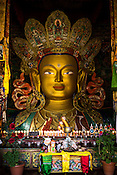 The statue of Maitreya Buddha at the Thiksey Gompa (Monastery) is two storey tall.