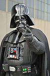 Garden City, New York, U.S. - June 14, 2014 -  WALTER HILLEGASS, of Glendale Queen, is Lord Vader, Darth Vadar from Star Wars movie series, at Eternal Con, the annual Pop Culture Expo, with costumes, Comic Books, Collectibles, Gaming, Sci-Fi, Cosplay, Horror, and held at the Cradle of Aviation Museum on Long Island.