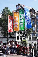 Nederland Amsterdam - Augustus 2018. (Gay) Pride.  De straten zijn versierd met regenboog vlaggen. Foto Berlinda van Dam / Hollandse Hoogte