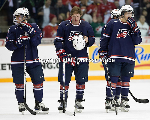 Jason Zucker (USA - 16), John Ramage (USA - 2), Matt Donovan (USA - 4) - Team Canada defeated Team USA 5-4 (SO) on Thursday, December 31, 2009, at the Credit Union Centre in Saskatoon, Saskatchewan, during the 2010 World Juniors tournament.