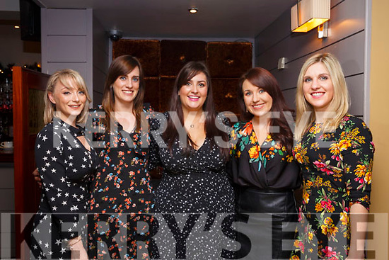 Trisha O'Brien (Kilmoyley), Liz Dineen (Ballyheigue), Marie O'Mahoney (Ballyheigue), Annmarie Reidy (Ballyheigue) and Kathleen Hare (Ballyheigue) celebrating Womens Little Christmas in Benners Hotel for Little Womens Christmas on Saturday night last.