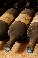 Old bottles. Chateau St Martin de la Garrigue. Languedoc. Bottle cellar. France. Europe. Bottle.