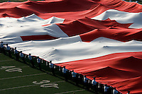 Jul 7, 2007; Hamilton, ON, CAN; Cadets unfurl a huge Canadian flag prior to the Hamilton Tiger-Cats 2007 season home opener against the Toronto Argonauts at Ivor Wynne Stadium. The Argos defeated the Tiger-Cats 30-5. Mandatory Credit: Ron Scheffler, Special to the Spectator.
