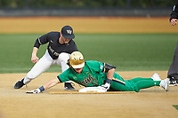 Brooks Coetzee (42) of the Notre Dame Fighting Irish slides into second base ahead of the tag by Michael Turconi (6) of the Wake Forest Demon Deacons at David F. Couch Ballpark on March 10, 2019 in  Winston-Salem, North Carolina. The Fighting Irish defeated the Demon Deacons 8-7 in 10 innings in game two of a double-header. (Brian Westerholt/Four Seam Images)