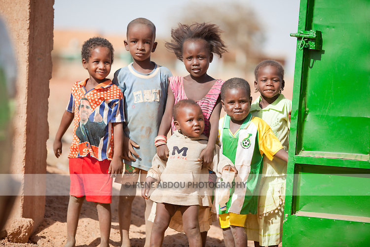 Fulani children in the town of Djibo in northern Burkina Faso.  One girl sports a Barack Obama t-shirt.