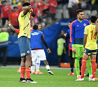SAO PAULO – BRASIL, 28-06-2019: Yerry Mina de Colombia luce decepcionados tras la eliminación después del partido por cuartos de final de la Copa América Brasil 2019 entre Colombia y Chile jugado en el Arena Corinthians de Sao Paulo, Brasil. / Yerry Mina of Colombia looks disapponted after their elimination in the Copa America Brazil 2019 quarter-finals match between Colombia and Chile played at Arena Corinthians in Sao Paulo, Brazil. Photos: VizzorImage / Julian Medina / Cont /