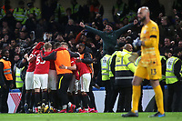 Manchester United celebrate their second goal scored by Harry Maguire during Chelsea vs Manchester United, Premier League Football at Stamford Bridge on 17th February 2020