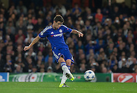 Oscar of Chelsea hits a free kick during the UEFA Champions League match between Chelsea and Maccabi Tel Aviv at Stamford Bridge, London, England on 16 September 2015. Photo by Andy Rowland.