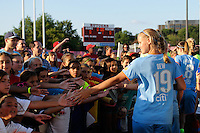 Carrie Dew (19) of Sky Blue FC. The Western New York Flash defeated Sky Blue FC 4-1 during a Women's Professional Soccer (WPS) match at Yurcak Field in Piscataway, NJ, on July 30, 2011.
