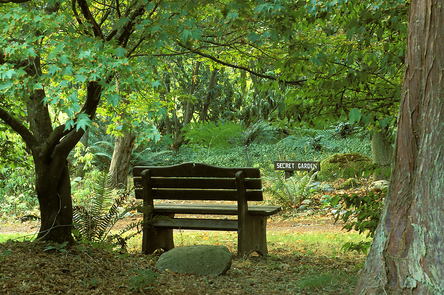 Bench in Secret Garden, Meerkerk Gardens, Greenbank, Whidbey Island, Washington