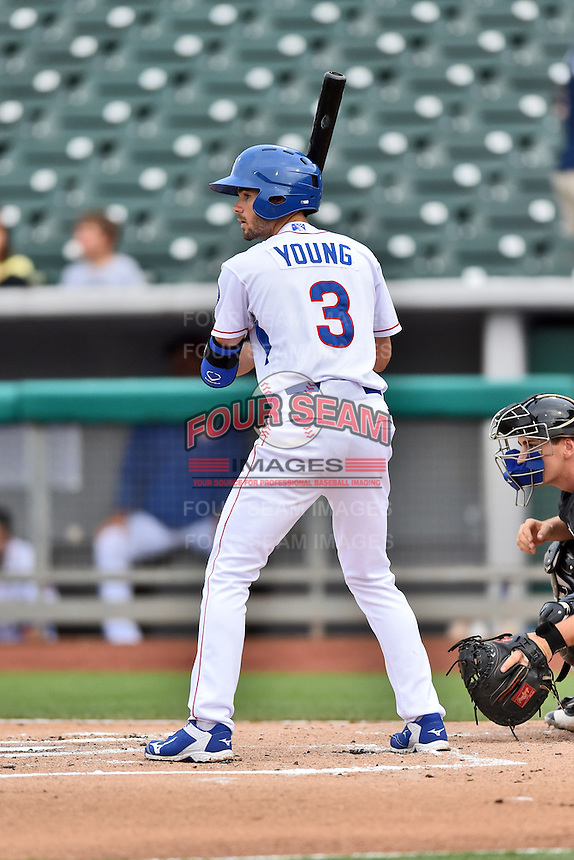 Tennessee Smokies third baseman Chesny Young (3) awaits a pitch during a game against the Jackson Generals at Smokies Stadium on July 5, 2016 in Kodak, Tennessee. The Generals defeated the Smokies 6-4. (Tony Farlow/Four Seam Images)